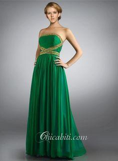 Abiti da Cerimonia Verde Smeraldo Senza Spalline