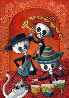 Dia de Muertos Musical Skeleton Band Art Print by Madame Colonelle