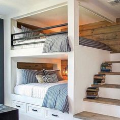 Bunk beds design and room ideas. Most amazing bunk beds for kids. Designing bunk beds that you might like. Bunk Bed Rooms, Bunk Beds Built In, Bunk Beds With Stairs, Boys Bunk Bed Room Ideas, Bunkbeds For Small Room, Adult Bunk Beds, Teen Bunk Beds, Loft Bedrooms, Bunkbeds For Teens