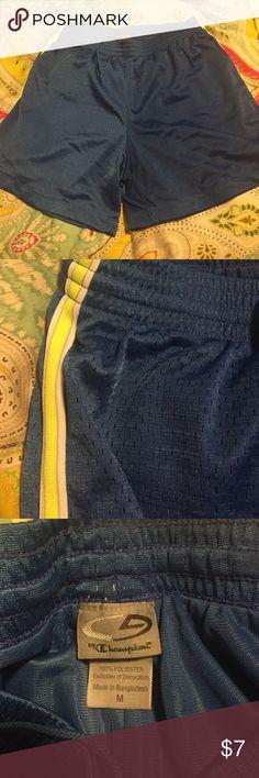 Champion Royal Blue Shorts Champion Royal Blue basketball shorts with highlighter yellow stripe on the side. Size medium. Like new! Champion Shorts