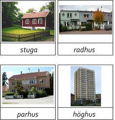Bostäder del1, 3 del Learn Swedish, Swedish Language, Montessori Materials, Blogg, Pergola, Outdoor Structures, Mansions, Education, House Styles