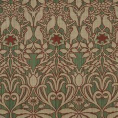 Loome Fabrics - Arts And Crafts Green Flat-Weave Curtain and Upholstery Fabric   Charles Voysey Fabrics Hawthorne