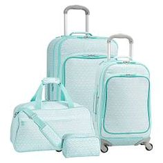 Jet-Set Mermaid Scallop Luggage Bundle, Set of 4 Teen Luggage, Cute Luggage, Luggage Bags, Hard Sided Luggage, Pottery Barn Kids Backpack, Cute Suitcases, Family Brand, Pb Teen, Bags For Teens