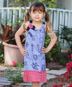 Red & Chambray Flowers Convertible Dress - Toddler & Girls by Freckles + Kitty #zulily #zulilyfinds