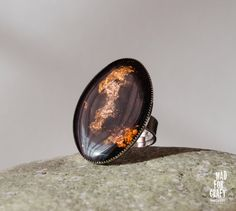 Black Gold Cooper ring, black plate ring, Dark adjustable ring, silver oval ring, Gift for her by MadForCraftGR on Etsy