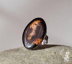 Black Gold Cooper ring black plate ring Dark by MadForCraftGR