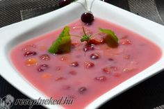 Gyümölcsleves is typically served as a chilled starter or a light summer dish. The most popular version of this refreshing delicacy is meggyleves, made from sour cherries, sour cream ​and a little sugar Fruit Soup, Soup Recipes, Cooking Recipes, Eat Pray Love, Summer Dishes, Tasty, Yummy Food, Hungarian Recipes, Soups And Stews