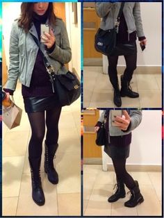 ElcoBlog: My Outfit Today.. Leather Skirt with Biker Boots #fashion #fall #style #outfits #look #jackets #skirts #biker #boots #autumn #streetwear #streetstyle #streetfashion #londonstyle