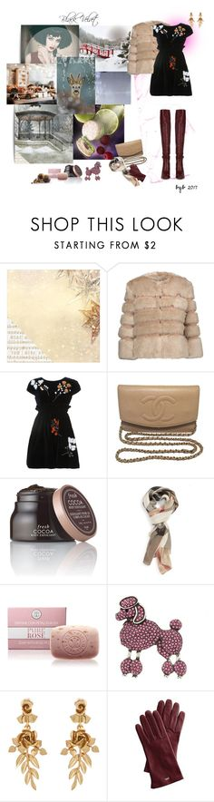 """Black Velvet"" by hannover ❤ liked on Polyvore featuring Kaisercraft, Enchanté, AINEA, Fendi, Chanel, Fresh, Burberry, Marc Jacobs, Oscar de la Renta and Mark & Graham"