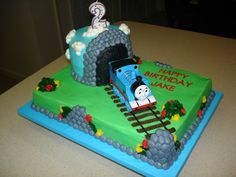 All buttercream with a Toy Thomas the Train for the...