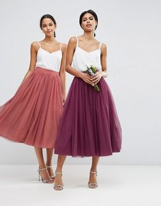 ASOS Tulle Prom Skirt with Multi Layers Wedding Guest Dresses / Bridesmaid Dresses Asos Wedding, Tulle Wedding, The Dress, Dress Skirt, Dress Long, Chiffon Dress, Traje Casual, Online Shop Kleidung, Asos Mode