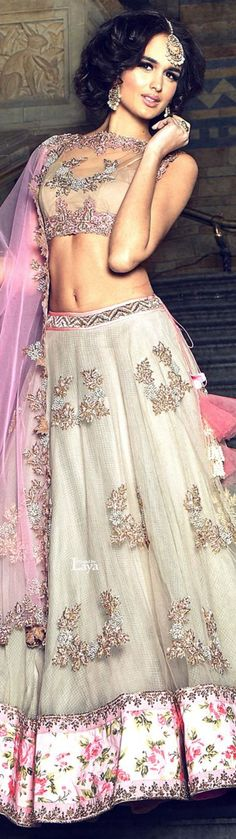 gorgeous pastels and floral touch lehenga, Indian wedding outfit anushree reddy Indian Bridal Wear, Indian Wedding Outfits, Indian Outfits, Wedding Dresses, Pakistani Couture, Indian Couture, Beauty And Fashion, Fashion Mode, Moda India