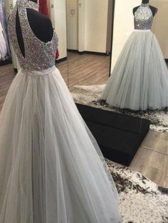 A-Line/Princess Halter Sleeveless Floor-Length Beading Tulle Dresses JollyProm