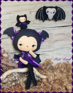 PDF. Bat girl with puppet.Plush Doll Pattern Softie by Noialand