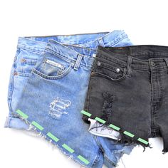 """Turning Goodwill """"Mom Jeans"""" into Trendy High-Waisted Shorts (Step ..."""