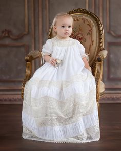Gorgeous Juliana is in her Christening gown original design by Mela Wilson. For order write to . Baptism Outfit, Baptism Dress, Little Girl Dresses, Flower Girl Dresses, Frocks And Gowns, Blessing Dress, Baby Couture, Baby Gown, Christening Gowns