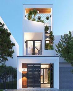 House Balcony Design, Duplex House Design, House Front Design, Architecture Building Design, Facade Design, Modern Architecture, Minimal House Design, Modern Small House Design, Narrow House Designs