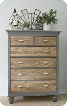dresser makeover - natural wooden drawers with upcycled grey painted outer frame- www.chasingbeads....