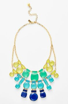 Adore everything about this bold Kate Spade statement necklace. The bright blue and yellow gems are gorgeous and fun!