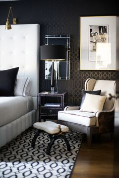 I really like the black white and brass in the bedroom. What do you think of the rug for the master?