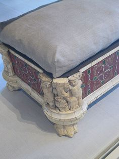 Roman couch and footstool with bone carvings and glass inlays Roman 1st century CE possibly from the villa of co-emperor Lucius Verus 161-169 CE (1)