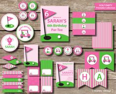 Golf Party Girls Birthday Package Printables / Golf Party Decorations Pink.