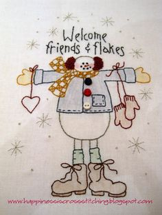 ! Happiness is cross stitching !: Free snowman stitchery pattern and Father Christmas design