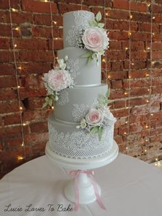 Grey and Pink Floral Lace Wedding Cake by LucieLovesToBake