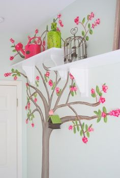 Painted tree with 3D flowers