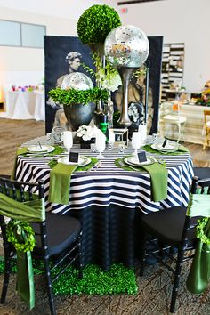 """Classic Fusion"" Tablescape by clarissa Table Set Up, Deco Table, Decoration Table, Dinner Table, Event Decor, Wedding Table, Wedding Decorations, Black And White Party Decorations, Decor Wedding"