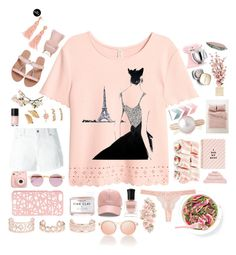 """""""Pink In pAris."""" by anexushill ❤ liked on Polyvore featuring Forever 21, Dondup, Sheriff&Cherry, Fujifilm, Miss Selfridge, Herbivore, Crate and Barrel, Hamam, ban.do and New Look"""