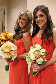 Dublin Ranch Golf Course Wedding-Bridesmaids, Soft orange and white bouquets, orange bridesmaid dresses