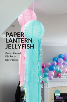 DIY Paper Lantern Jellyfish – two purple couches Make your own Paper Lantern Jellyfish with this easy DIY tutorial. These are perfect for an ocean themed birthday party or shower! Ocean Party Decorations, Jellyfish Decorations, Underwater Birthday, Underwater Theme Party, Lila Sofa, Do It Yourself Inspiration, Paper Lanterns, Paper Lantern Decorations, Lantern Diy