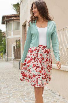 Jerseyrock Aquarell-Blüten : Maas Natur - Ökologische Mode, fair produziert für die ganze Familie