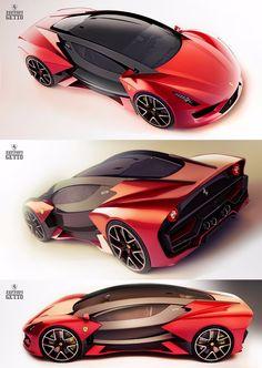 Ferrari Getto Concept by Christophe Jourd'hui & Maxime Dewailly Fast Sports Cars, Exotic Sports Cars, Sport Cars, Lamborghini, Maserati, Bugatti, Car Design Sketch, Car Sketch, Cadillac