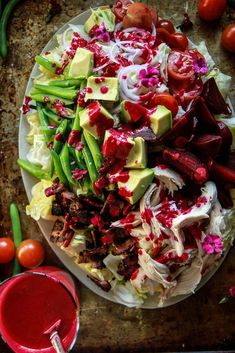 Winter Cobb Salad with Smoky Beet Dressing from http://HeatherChristo.com