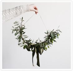 DIY Inspo: Olive Branch Holiday Wreath by Amy Merrick- For reconciliation? Extending the olive branch? Noel Christmas, Winter Christmas, Winter Holidays, Christmas Crafts, Christmas Decorations, Holiday Decorating, Simple Christmas, Olive Wreath, Twig Wreath