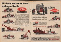 Ford and Dearborn Farm Equipment ad. Vintage Tractors, Antique Tractors, Vintage Farm, Antique Cars, 8n Ford Tractor, Tractor Accessories, Cat Farm, Tractor Attachments, Agriculture Farming