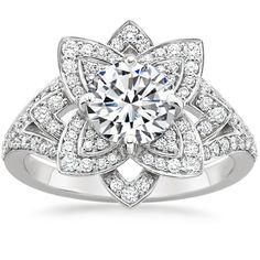 This is different, but vintage looking. 18K White Gold Lily Diamond Ring (1/2 ct. tw.) from Brilliant Earth