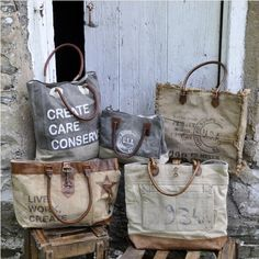Upcycled Canvas Bag | Mona B - Vintage Stamp Fringe Tote | Piper Classics