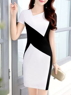 DESCRIPTION sku: 3F365C77502D Color: White*black Size: S M L XL 2XL 3XL Collar_&_neckline: Asymmetric Neck Dress_silhouette: Shift Material: Polyester Occasion: Basic*office Pattern_type: Color Block Season: Summer Sleeve_length: Short Sleeve Style: Basic
