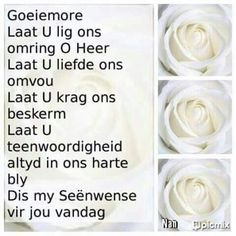 Afrikaans Good Morning Wishes, Day Wishes, Evening Greetings, Goeie Nag, Goeie More, Afrikaans Quotes, Encouragement, Prayers, Bible