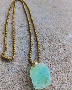 Mexican Calcite Necklace  Brass Ball Chain Necklace