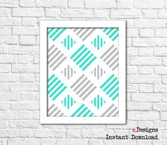 Printable Geometric Wall Art Blue Wall Decor by eDesignss on Etsy Turquoise Wall Decor, Turquoise Walls, Blue Wall Decor, Geometric Wall Art, Blue Walls, Printables, Unique Jewelry, Frame, Handmade Gifts