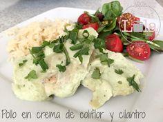 Pollo en crema de coliflor y cilantro