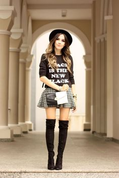 FashionCoolture - 28.03.2016 look du jour black and white over knee boots outfit winter (1)