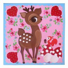 Schilderij Bambi met eekhoorn  50cmx50cm