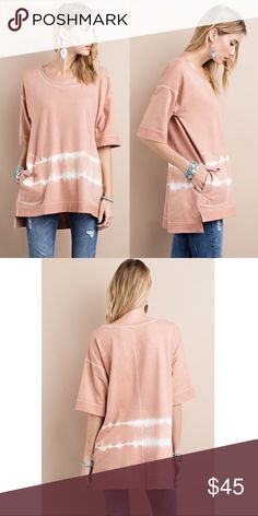 🆕HAYDEN French terry loose fit top - PEACH Tunic top with side pockets.  Pre-Order: arrival May 5th.   🚨NO TRADE🚨  🚨PRICE FIRM🚨 Bellanblue Tops