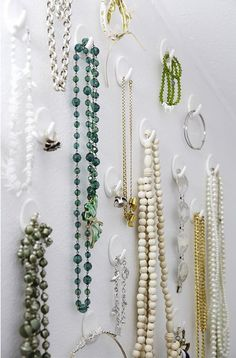 Perhaps pin a large frame /-Jewelry organization idea- using Command hooks is a quick and easy idea that is also easy to change when needed--Works great , I use inside of armoire in bedroom Jewellery Storage, Jewelry Organization, Jewellery Display, Organization Hacks, Diy Jewelry, Jewelry Box, Jewelery, Jewelry Making, Jewelry Hooks