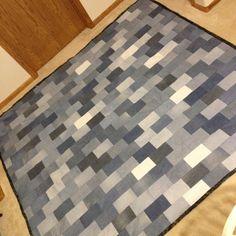"""Jean quilt I made!! 80""""x90""""  denim, quilt, pattern, DIY"""